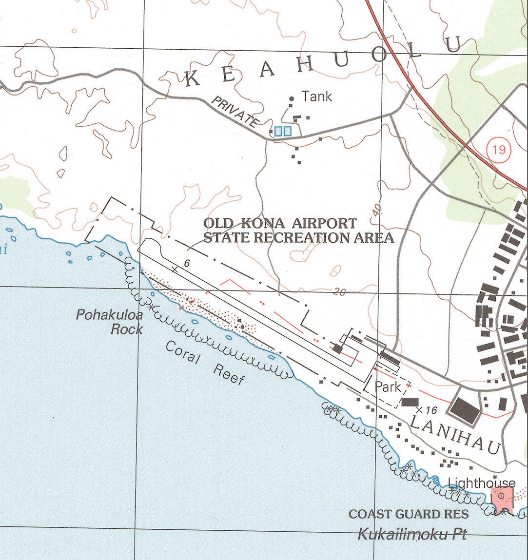 Map of Old Kona Airport State Park