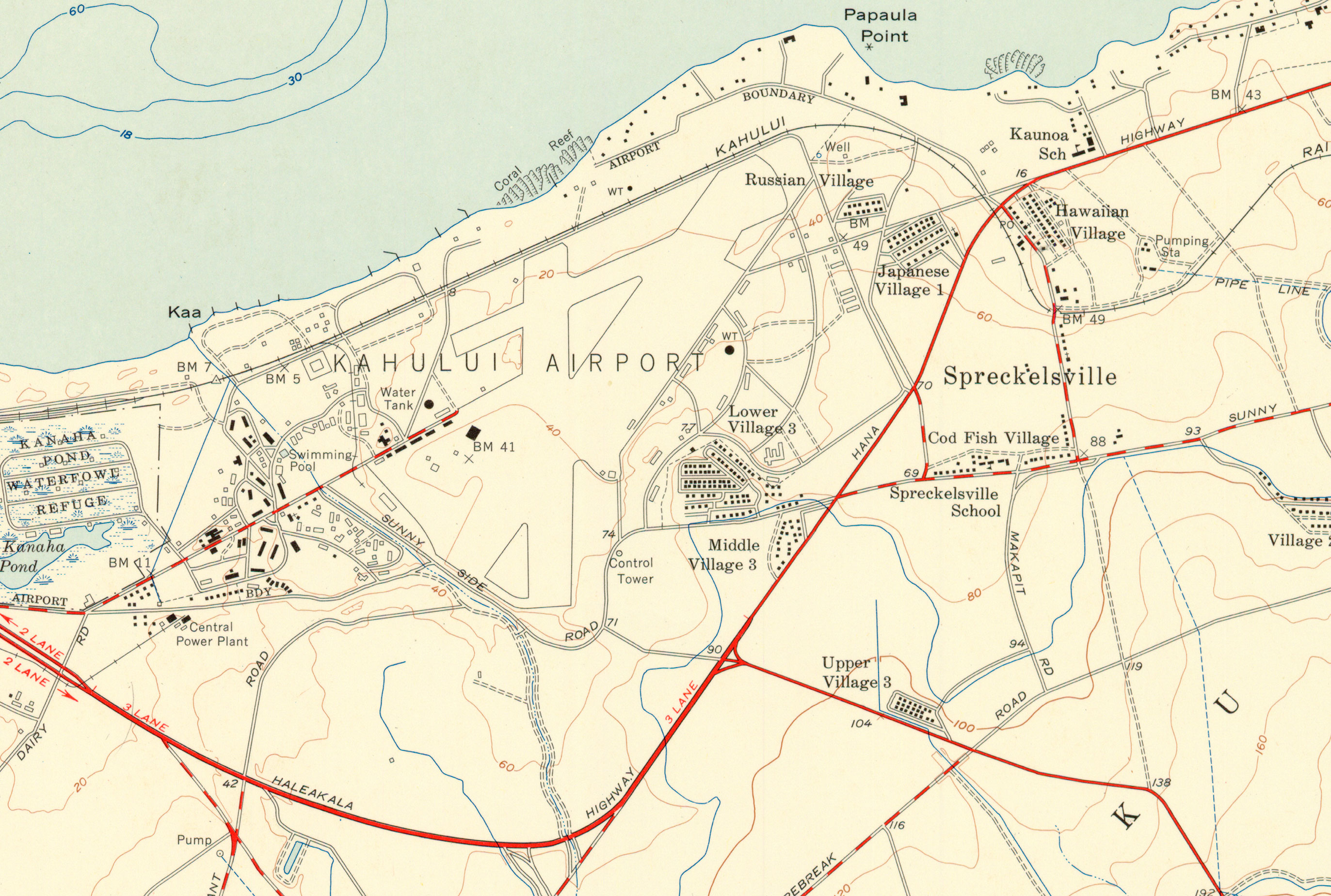 Map of Kahului Airport, 1954