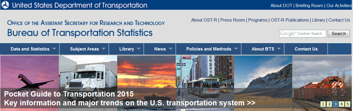 Bureau of Transportation Statistics web site screen capture