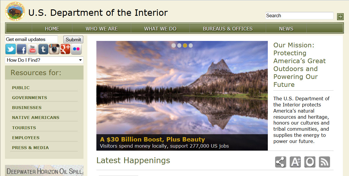 Department of the Interior web site screen shot