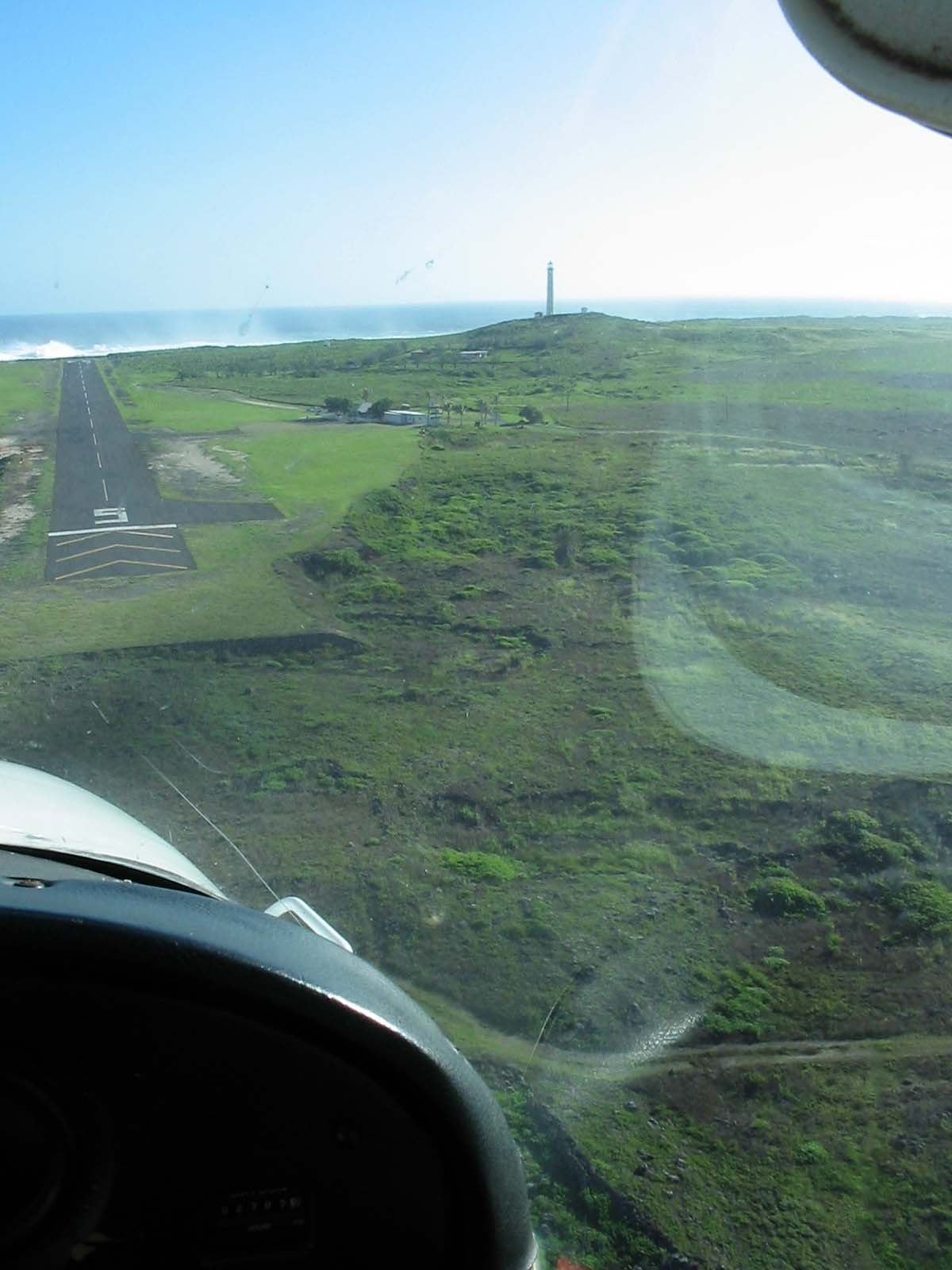 View of Kalaupapa runway from an airplane as it is landing
