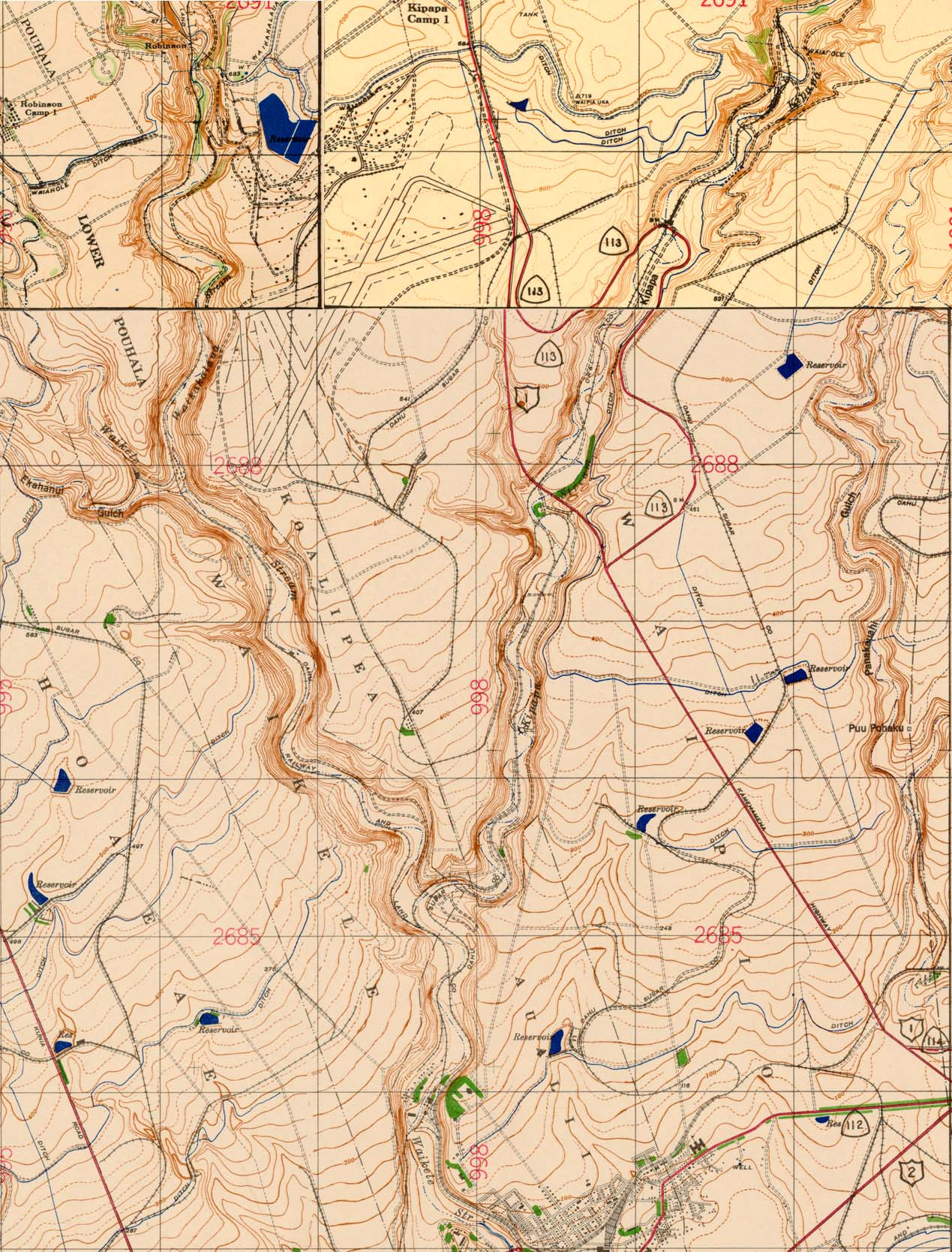 Detail of 1943 topographic map