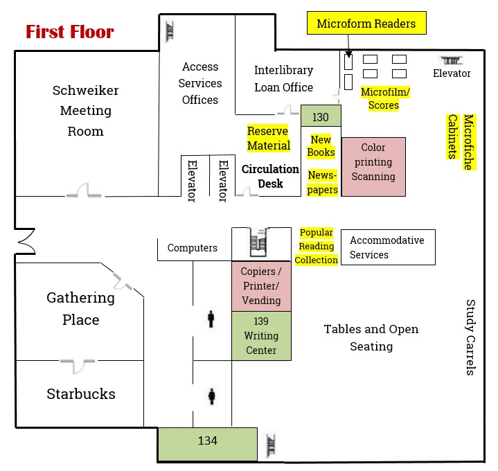First Floor Map   Maps   LibGuides at Bloomsburg University of