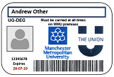 Manchester Met student ID card
