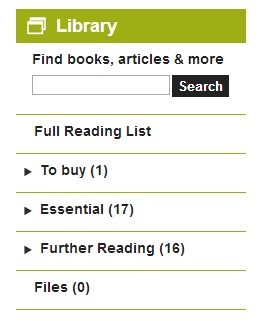 Resource list section on Moodle page