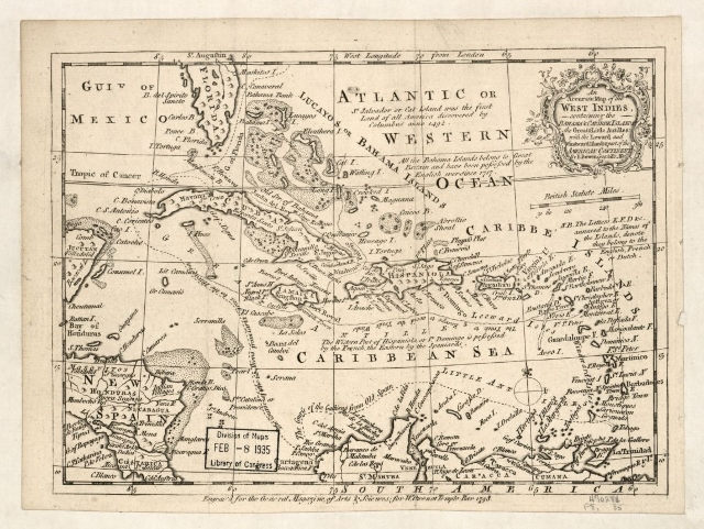 Emanuel Bowen's An Accurate Map of the West Indies dated 1758