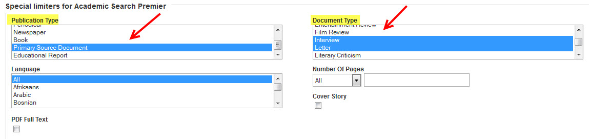 EBSCOhost publication and document type options