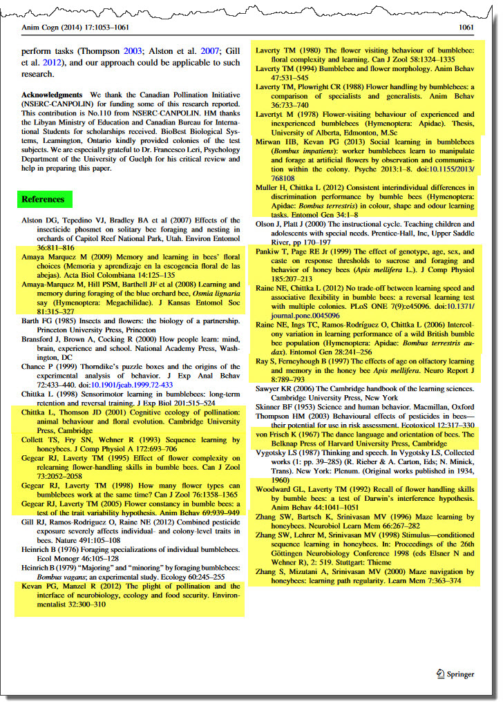 Article references, with full citations highlighted.