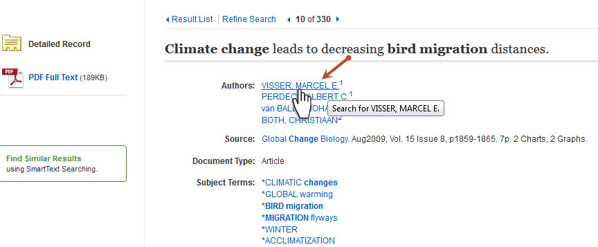 Click author's name.