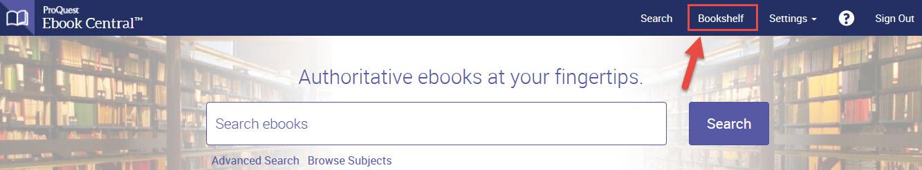 Ebook Central Bookshelf Link