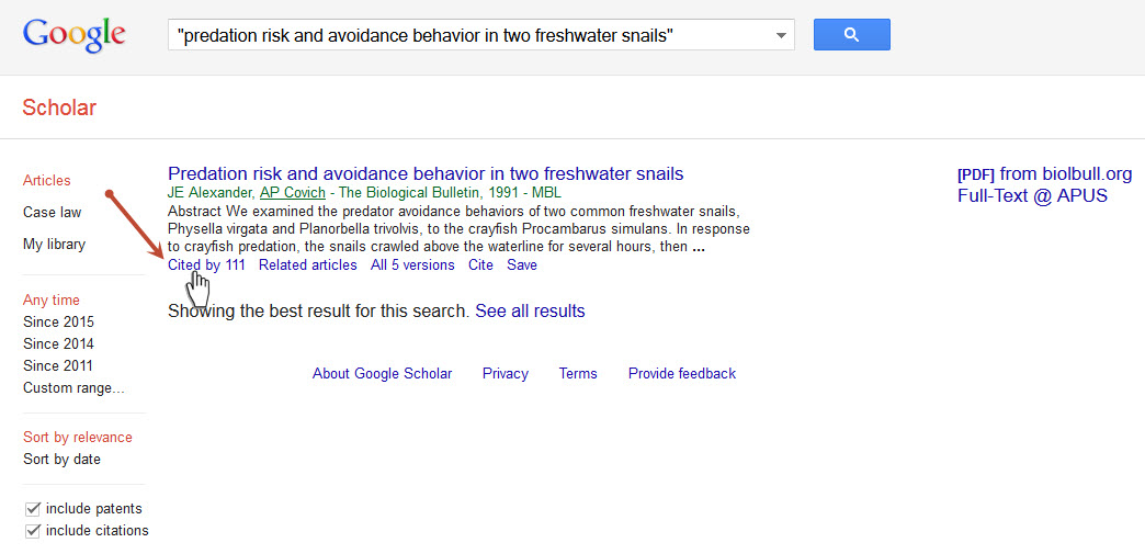 """Cited by"" link on Google Scholar results page."