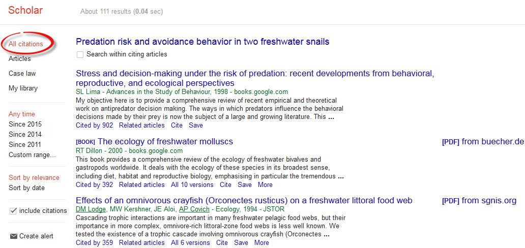Google Scholar citation results.
