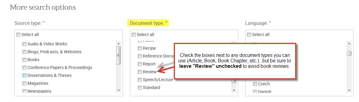 Document Type options in ProQuest