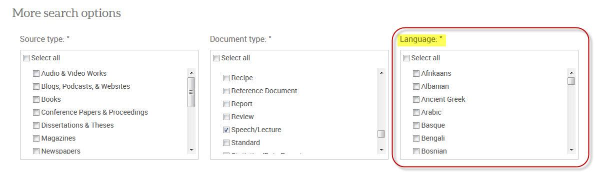 ProQuest language options
