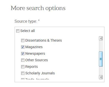 ProQuest Source Type options