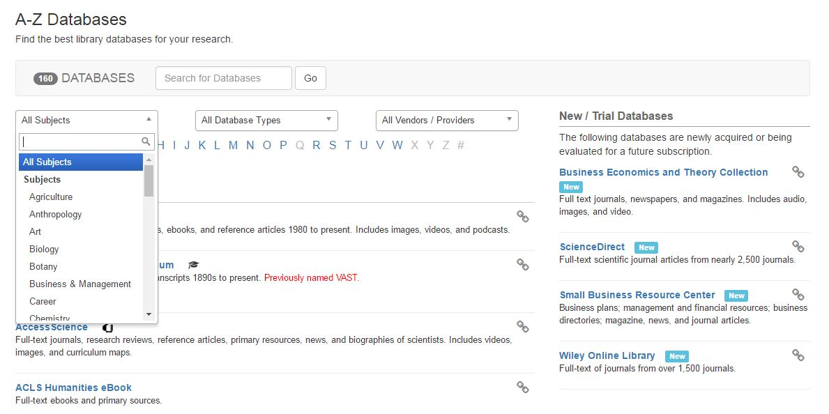 Images of Databases A-Z page.