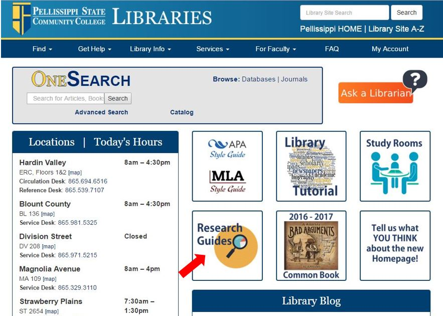 Image showing the location of research guides on the library home page.