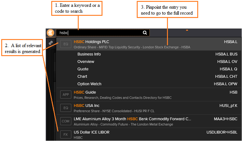 Thomson Reuters Eikon Search Bar