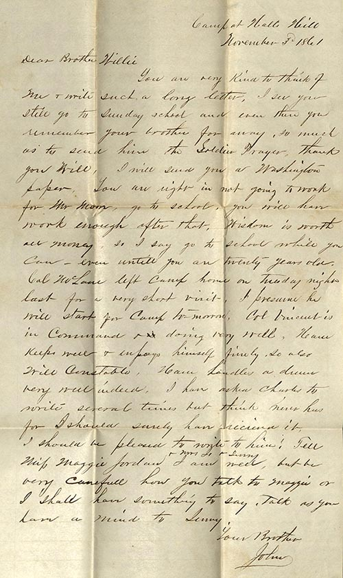 Letter from John to William Sell