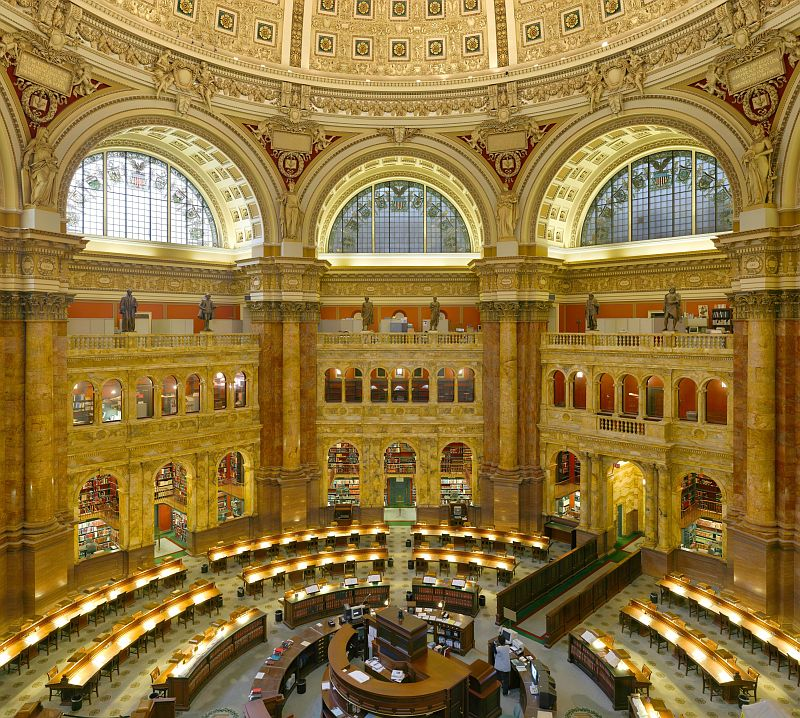Main hall of the Library of Congress, one of the prettiest libraries on earth