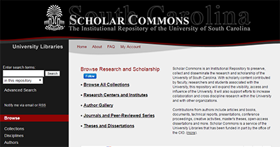 Screenshot of scholar commons homepage