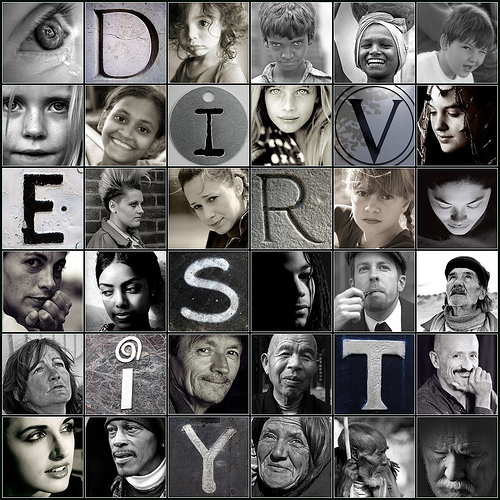 Diversity - graphic with human faces mixed in with letters spelling diversity