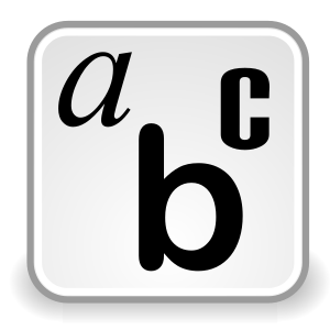The letters a, b, and c in a small box