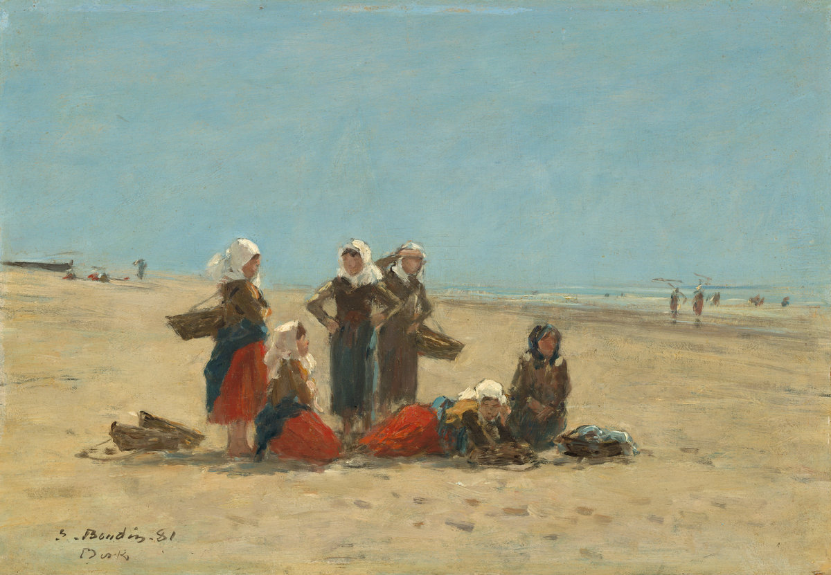 Image of painting by Eugène Boudin entitled Women on the Beach at Berck 1881