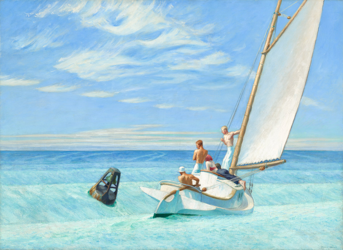 Image of painting by Edward Hopper titled Ground Swell, dated 1935