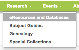 eResources in the navigation bar