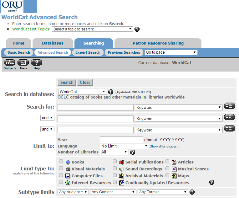 Screenshot of First Search's WorldCat Interface