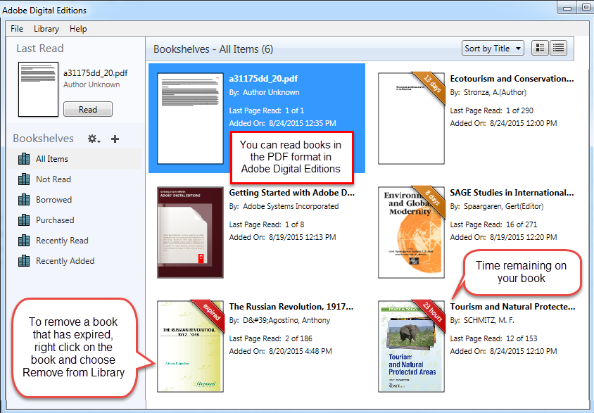 Use Adobe Digital Editions bookshelf to organize your ebooks