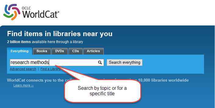 Search for a book in WorldCat.org