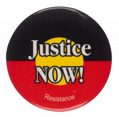 Badge supporting Indigenous rights.