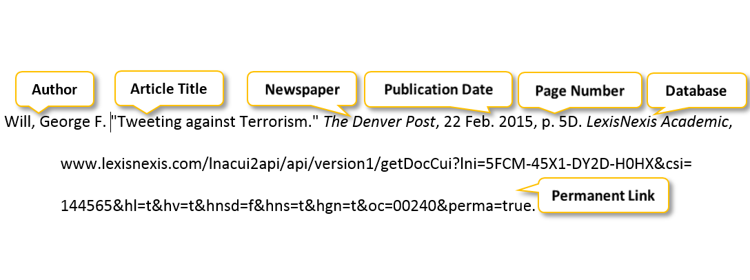 Will comma George F period quotation mark Tweeting against Terrorism period quotation mark The Denver Post comma 22 Feb period 2015 comma p period 5D period LexisNexis Academic comma www.lexisnexis.com/lnacui2api/api/version1/getDocCui?lni=5FCM-45X1-DY2D-H0HX&csi=144565&hl=t&hv=t&hnsd=f&hns=t&hgn=t&oc=00240&perma=true period