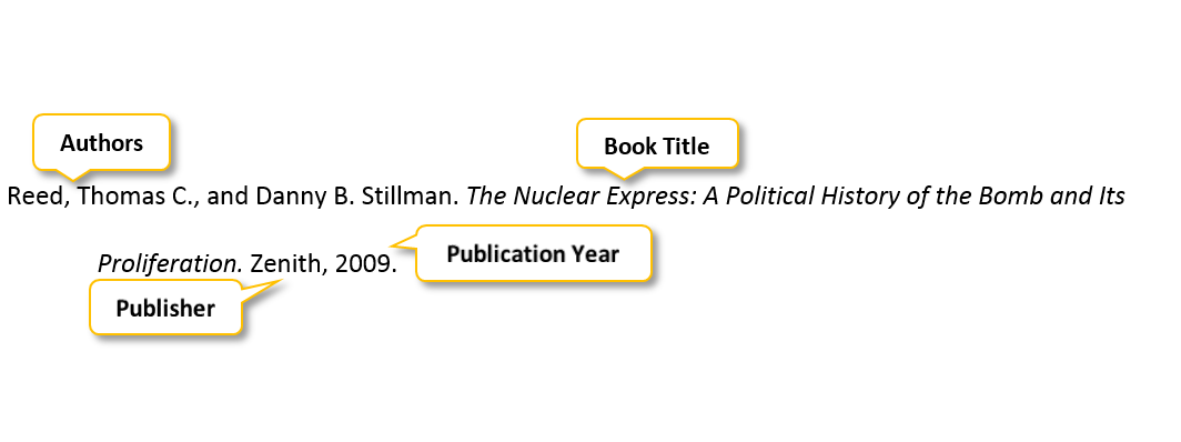 Reed comma Thomas C period comma and Danny B period Stillman period The Nuclear Express colon A Political History of the Bomb and Its Proliferation period Zenith comma 2009 period