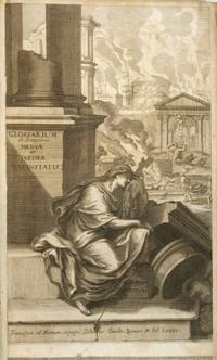 Gravat d'una figura clássica recolzada en una làpida