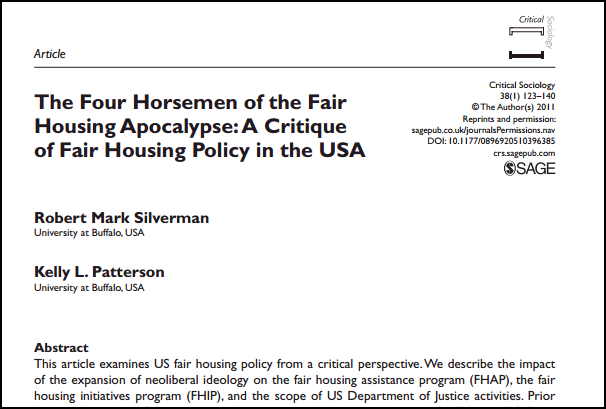 Screenshot of the first page of the article The Four Horsemen of the Fair Housing Apocalypse