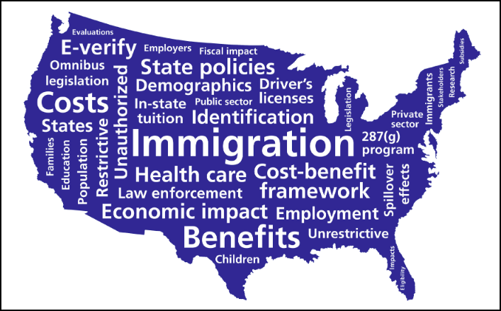 Screenshot of immigration words filling up the shape of the US
