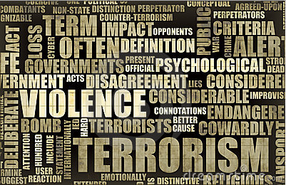 Graphic of a word could of words associated with terrorism