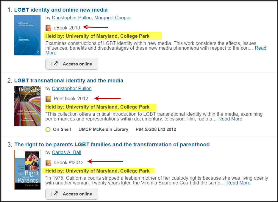 Screenshot of results in worldcat from a search and highlighting held by: University of Maryland College Park
