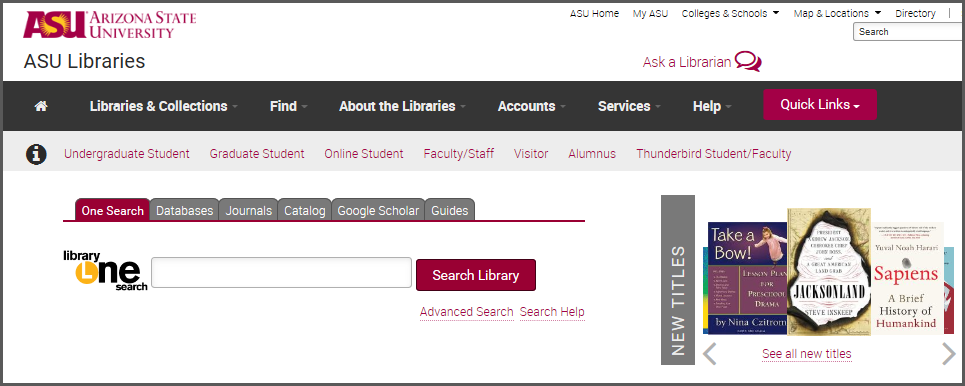 ASU Library home page