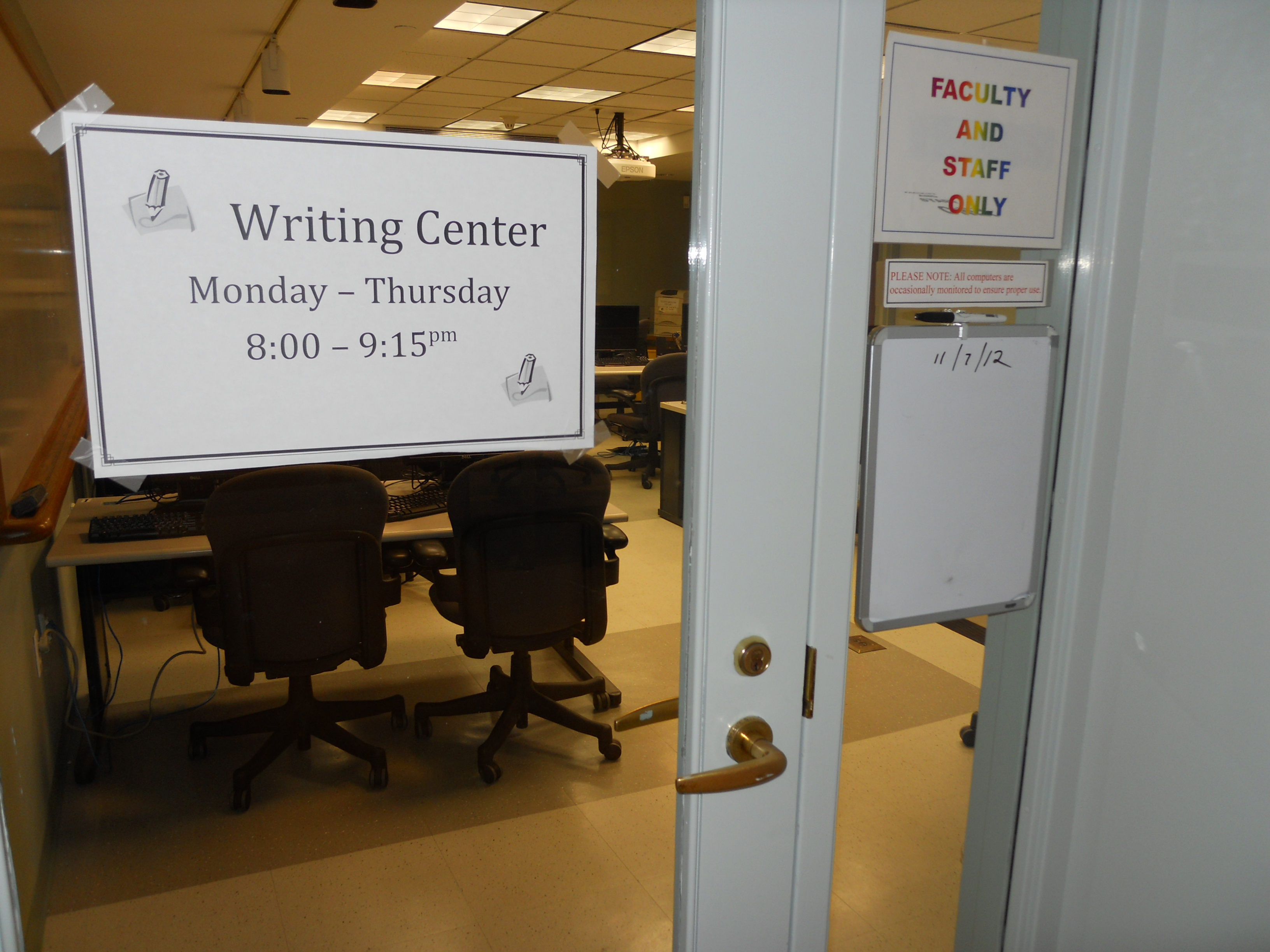The Writing Center, Photo by Sharon Pei