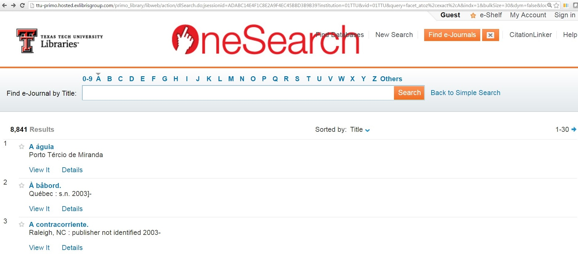 ejournal search
