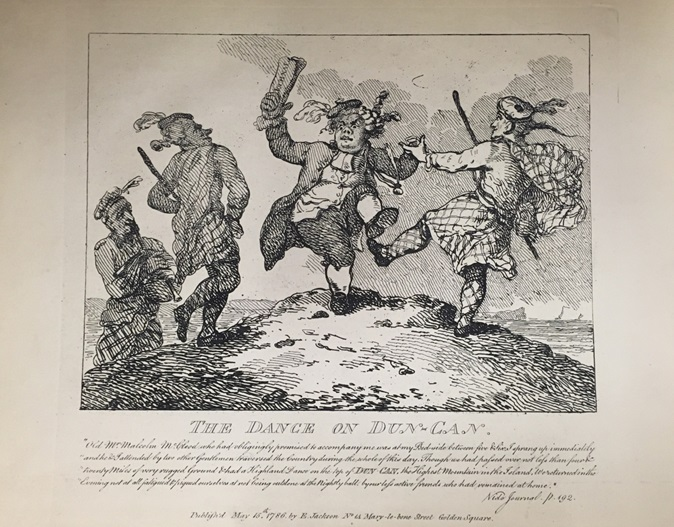 A caricature Boswell and Malcolm M'Cleod dancing a jig on a hilltop, as well as the following text.