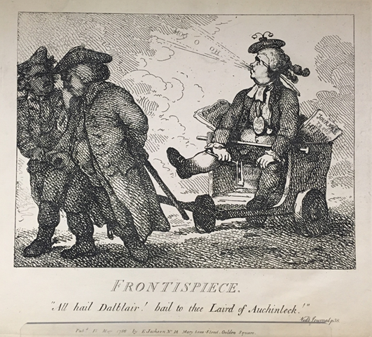 A caricature of Johnson being pulled in a cart, along with the text below.