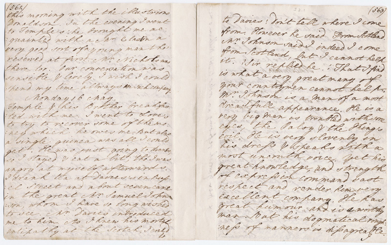 Two pages of Boswell's handwriting.