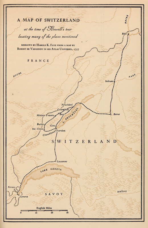 A physical map of Holland charting Boswell's tour.
