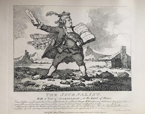 "A caricature of Boswell with his journal for a sword and his ""Life of Johnson"" manuscript for a shield, as well as the text below."