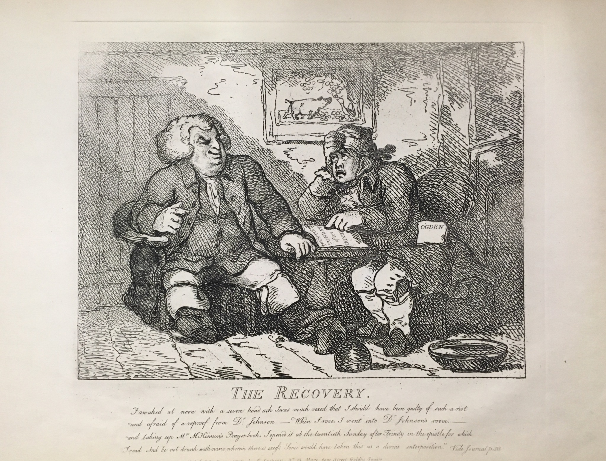 A caricature of Johnson and Boswell, the first with a look of amusement, and the latter distressed and reading verse, in addition to the text below.